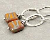 Rust/Orange Earrings, Square Earrings Fused Fine Silver Earrings, Eco Friendly Jewelry Gifts for Her