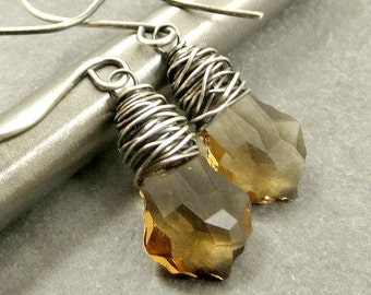 Crystal Topaz Earrings, Wire Wrapped Earrings, Autumn Jewelry Gifts for Her
