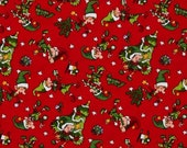 """44"""" Wide Santa's Workshop Elves Decorating Red Fabric By the Yard Quilt Co."""
