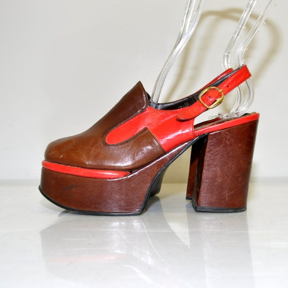 size 7 5 vintage 70s leather platform shoes 4
