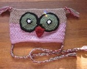 """On Clearance Childrens Owl Beanie size 18"""" Crochet in Lilac,Brown,Green,Orange,Black and White"""