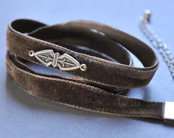 Brown velvet triple wrap ribbon bracelet with pewter filigree ornament