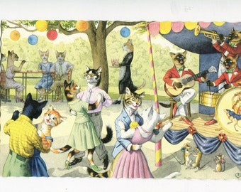 Mainzer dressed cats, dancing at the bandstand with mice, vintage postcard #4863 vintage postcard, SharonFosterVintage