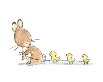 Children's Art -- Bunny And Ducklings -- Art Print