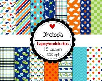 Digital Scrapbooking Blue, Orange,Green, Dino,  Dinotopia-INSTANT DOWNLOAD