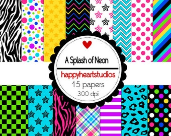 Digital Scrapbooking ASplashOfNeon -INSTANT DOWNLOAD