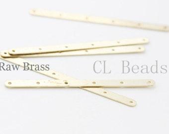 30pcs Raw Brass Multiple Hole Bars - 6 strands 54x3.5mm (1729C-T-58)