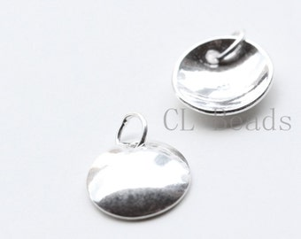 2 Pieces S925 Sterling Silver Curved Disc Charm -  9mm (BS384)