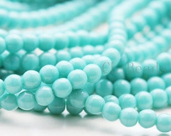 100pcs Czech Pressed Glass Round-Turquoise 4mm (6313)(B-18-21)