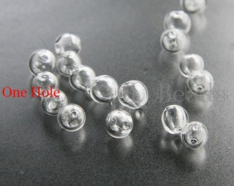 10pcs Hand Blown Hollow Glass Beads-Round Clear  ONE HOLE 6mm to 9mm (Small) (28H7)