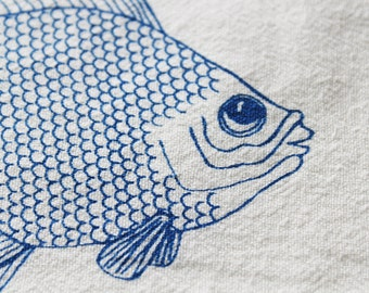 Flour Sack Dish Towel - Goldfish Design,  Screen Printed in Electric Blue - 100% cotton tea towel