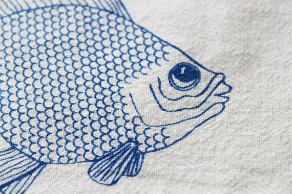 Flour Sack Dish Towel - Goldfish Design,  Screen Printed in Electric Blue - 100% cotton tea towel