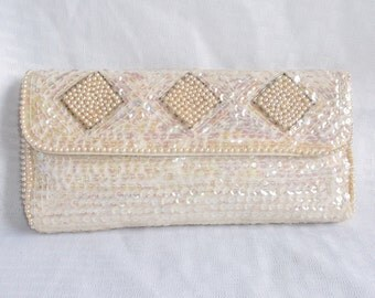 Clearance! 50's 60's Vintage Sequin and Pearl Evening Clutch Purse Unused
