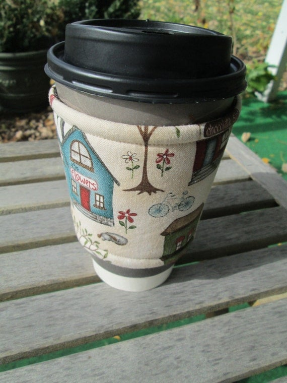 Handmade Coffee Cozy in Country Town Scene on Cream, Cup Sleeve