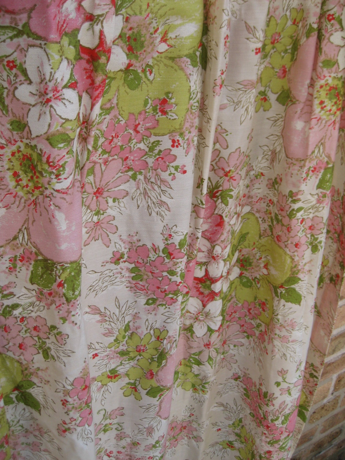 Beautiful Vintage 1950 S Floral Shabby Chic Curtain