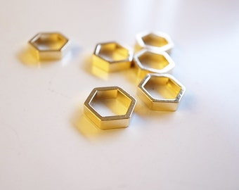 15 pieces of newly made small cut raw brass tube outline charm in hexagon shape geometric 10x2.5 x 1mm  larger-thicker plated in gold color