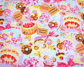 Disney Cartoon Mickey and  Minnie Mouse  Print Japanese fabric 50 cm by 53 cm or 19.6 by 21 inches  Fat quarter