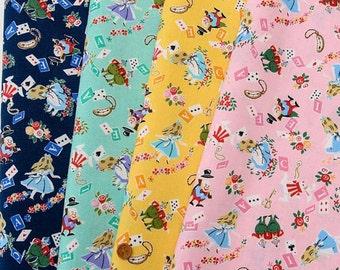 Lolita Harajaku Fabric ALice in Wonderland Scrap set of 4 pieces