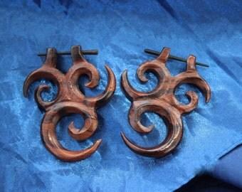 Fake Gauge Earrings - Hand Carved stick wood earrings tribal organic fake piercings faux gauge