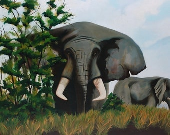 Mid Century Elephant Family Large Painting, circa 1950s