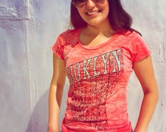 Brooklyn T-Shirt in Womens Burnout Tomato Red