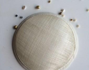 SINAMAY FASCINATOR BASE / Round, Cream / S - 1