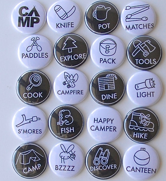 SUMMER CAMP Flair Buttons or Badges for scrapbooking