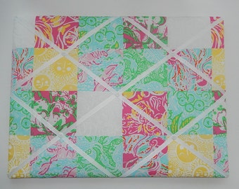 New memo board made with Lilly Pulitzer Multi State Patch fabric