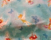Fairies on Butterfly Character Print cotton fabric sold by 1/2 yard
