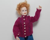 Handmade Dollhouse Scale Women's Sweater with Real, Vintage Pearl Buttons