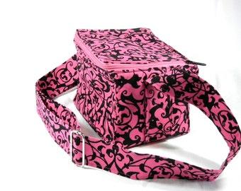 "Coupon Pocketbook Mega 6"" single wide Trellis Scroll Hot Pink and Black"
