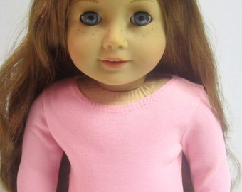 American Girl Doll Fitted Light Pink Long Sleeved Tee by Crazy For Hue