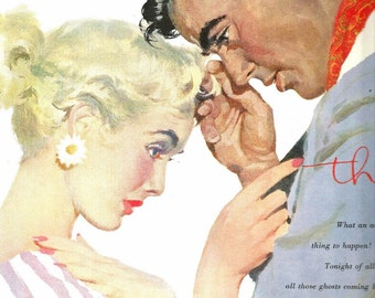 Vintage Magazine Print - Short Story Art - Magazine Illustration - Bowles - Romantic Art - Journal 1954