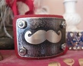 Etched metal, mustache, cuff, bracelet, leather cuff, recycled, gift