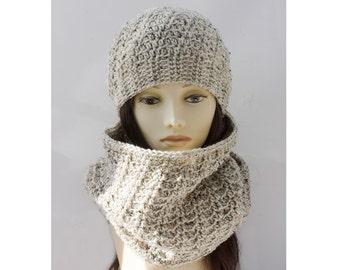 Beige Tweed Hat Cowl Set,   Crochet Infinity Scarf, Slouchy Beanie, Circle Scarf, Vegan