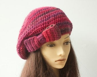 SALE, Crochet Beret with a Bow, Slouchy Beanie, Raspberry Hand Crocheted Winter Hat, Ready to Ship