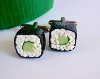 Sushi Cuff Links - Cucumber Maki Sushi - Miniature Food Art Jewelry - 100% Handmade Schickie Mickie Original