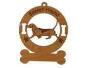 1485 Basset Hound Gaiting  Personalized Dog Ornament