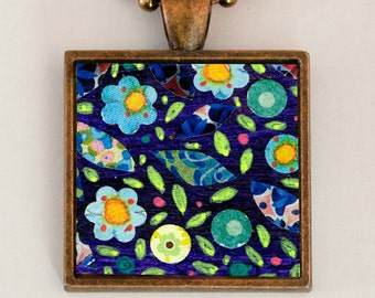 Indigo Blue Flower Necklace, Bohemian Flowers Pendant, Handmade Bohemian Jewelry