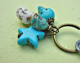 Rustic Brass Keyring or Purse Charm with Howlite and Turquoise Bead Charms: Blue Streak