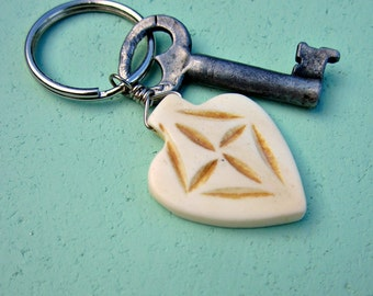 Silver Keyring or Purse Charm with Carved Bone Spade: Caper