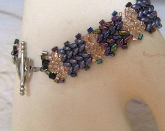 Beadwoven Black Bracelet Iris Twin Beads Pewter Toggle Clasp Handmade Perfect Gift