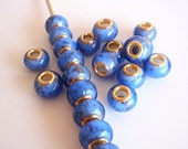 7 Beads, Handmade Lampwork European rondelle Style Beads, Jewelry making Supply, Cornflower Blue with goldsand
