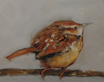 WREN BIRD  Abstract Art Giclee print from my original oil painting