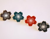 Cherry Blossom Ring red, teal, black brown -  laser cut acrylic flower Japanese style silver adjustable ring