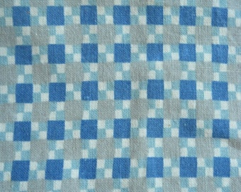 Vintage feedsack floursack fabric full opened feed sack Blue white grey check cotton quilt fabric yardage