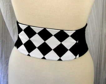 Harlequin Mini Corset Obi  - Sash Waist Cincher Belt Black and White Any Size