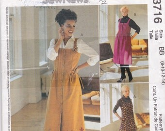 OOP New 2002 McCall's Sew News Pattern 3716  Jumper for Sizes 8, 10, 12, and 14
