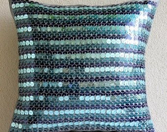 "Luxury Blue Pillows Cover, 16""x16"" Silk Pillows Covers For Couch, Square  Metallic Sequins Throw Pillows Cover - Sea Foam"