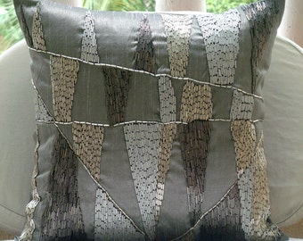 """Designer Grey Accent Pillows, Beaded Geometric Sparkly Glitter Pillows Cover Square  18""""x18"""" Silk Pillows Cover - Geometric Spark"""